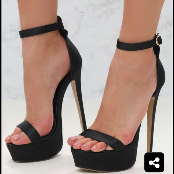 5a12152e5d3 PrettyLittleThings Black Satin High Heels NWT